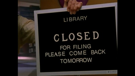 """Library closed for filing - please come back tomorrow"""